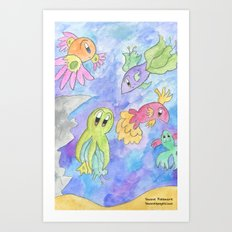 Flower Fish Art Print