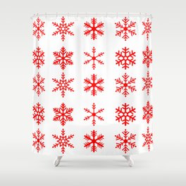 red snowflake seamless pattern Shower Curtain