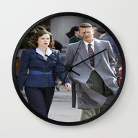 agent carter Wall Clocks featuring Jack Thompson & Peggy Carter - Agent Carter. by agentcarter23