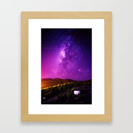 Purple Night Sky Universe Framed Art Print