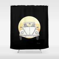 beetle Shower Curtains featuring Beetle by Milla Scramignon
