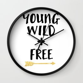 YOUND WILD AND FREE + BOHO ARROW quote Wall Clock