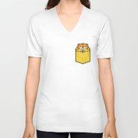 pocket V-neck T-shirts featuring Pocket Tiger by Steven Toang