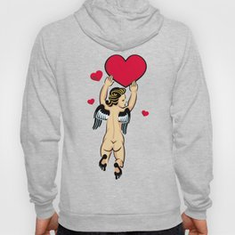 Cupid flying with the red heart Hoody
