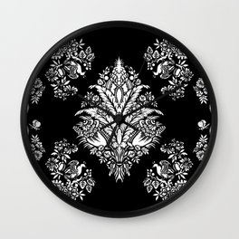 Victorian black and white floral Wall Clock