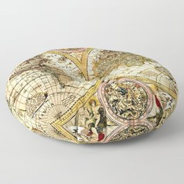 Gorgeous Old World Map Art from 15th Century Floor Pillow