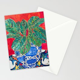 Prayer Plant in Blue-and-White Pot on Swan Table Cloth After Matisse Painting Stationery Cards