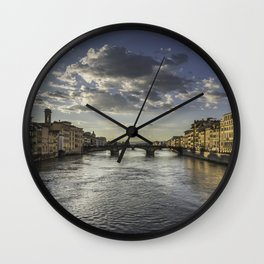 View from the Ponte de Vecchio in Florence, Italy Wall Clock