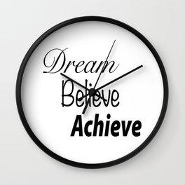 Dream Believe Achieve Bold Wall Clock