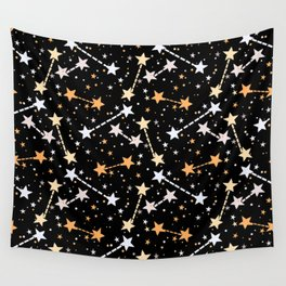 Night sky with gold silver stars Wall Tapestry