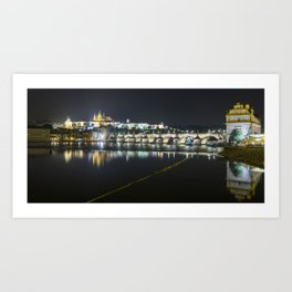 Prague Castle and Charles Bridge at night Art Print