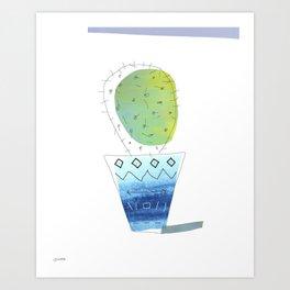 Green Cactus in Bohemian Indigo Vase Art Print