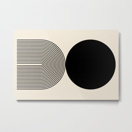 Abstraction_BLACK_DOT_LINE_ART_Minimalism_003C Metal Print