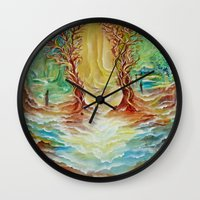 alice in wonderland Wall Clocks featuring Wonderland by Lily Nava Gallery Fine Art and Design