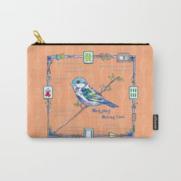 Sparrow Mahjong in Orange Carry-All Pouch