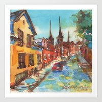 denmark Art Prints featuring Roskilde, Denmark by Yevgenia Watts