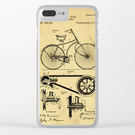 Bicyole Support Patent Drawing From 1890 Clear iPhone Case