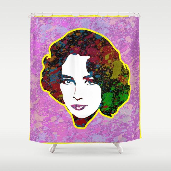 Elizabeth Taylor | Splatter Series | Pop Art Shower Curtain