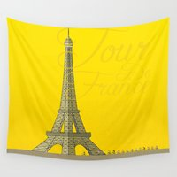 tour de france Wall Tapestries featuring Tour De France Eiffel Tower by Wyatt Design