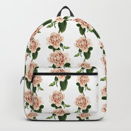 Pink Cappuccino Rose Watercolor Painting Backpack