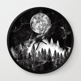 marble black and white landscape Wall Clock