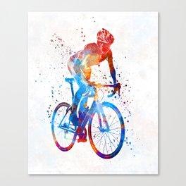 Woman triathlon cycling 06 Canvas Print