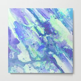 Neon Blue Abstract Fluid Painting Metal Print