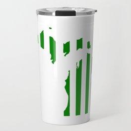 Green and White Michigan Travel Mug