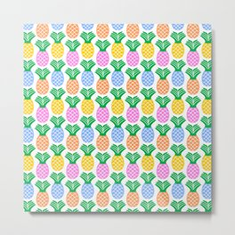 Pineapple Pattern Metal Print