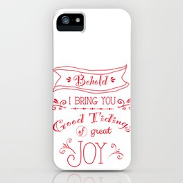 Tidings of Great Joy (red) by Jan Marvin iPhone Case