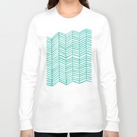 herringbone Long Sleeve T-shirts featuring Mint Herringbone by Cat Coquillette