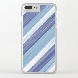 Serenity Ocean Wave Blue Stripes Design Clear iPhone Case