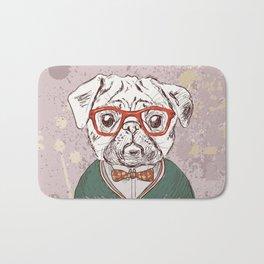 Hipster pug Bath Mat