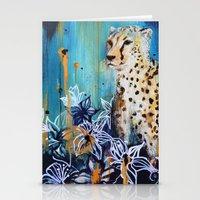 cheetah Stationery Cards featuring Cheetah by Sonal Nathwani