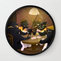 poker Wall Clocks featuring Poker by happymiaow
