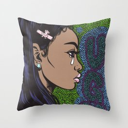 UGH Crying Girl Throw Pillow