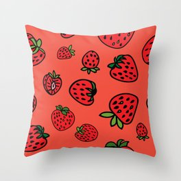 Strawberry Coral Jam Throw Pillow