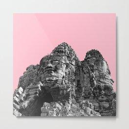 Part of Angkor Wat with pink Metal Print