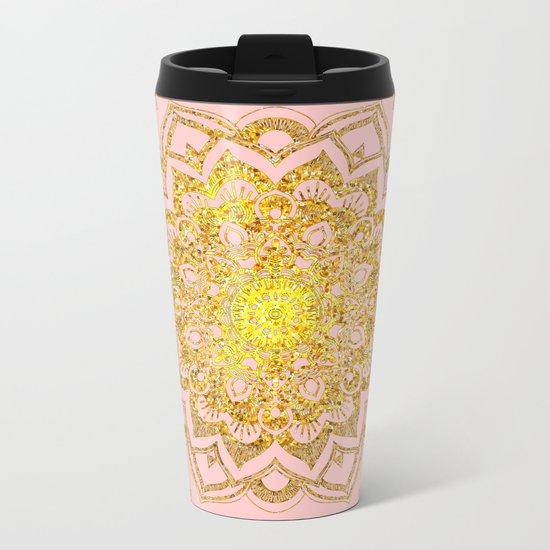 Golden Mandala i Metal Travel Mug
