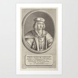 Portrait of Philip the Fair, Duke of Burgundy, Jan Punt, 1786 Art Print