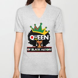 Queen Of Black History Month Queens Beautiful Melanin Poppin Girl Magic Unisex V-Neck