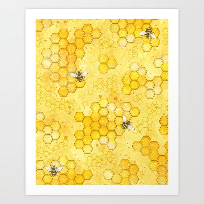 Meant to Bee - Honey Bees Pattern Kunstdrucke