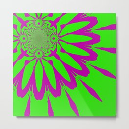 The Modern Flower Green & Purple Metal Print