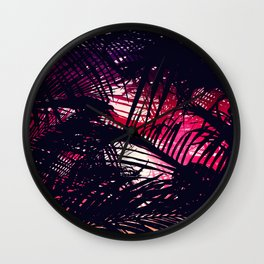 Tropical Purple and Red Sunset Palm Fronds Wall Clock