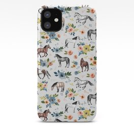 Horses and Flowers, Floral Horses, Western, Horse Art, Horse Decor, Gray iPhone Case