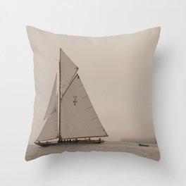 Sail with Island Fog Throw Pillow