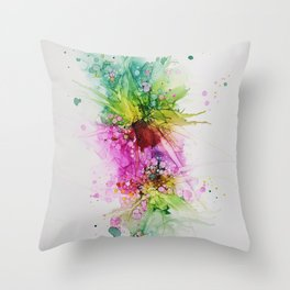 Happy Colors Abstract Flowers and Bubbles Multicolored Throw Pillow