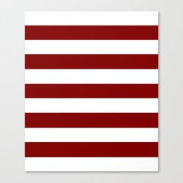 Maroon (HTML/CSS) - solid color - white stripes pattern Canvas Print