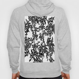 Toile Black and White Tangled Branches and Leaves Hoody
