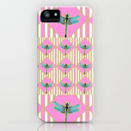 PINK COLOR BLUE DRAGONFLY GEOMETRIC ART STRIPES ARTWORK iPhone Case